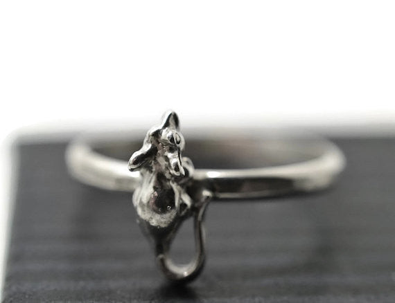 Handmade Sterling Silver Mouse Ring