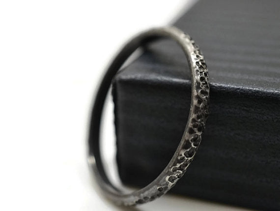 Handmade Sterling Silver Oxidized Concrete Texture Stack Ring