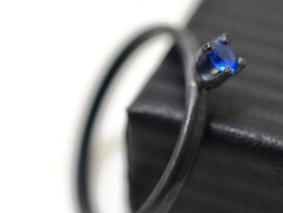 Oxidized Silver Blue Spinel Dress Ring