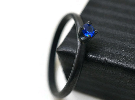 Dainty Oxidized Silver Blue Spinel Ring
