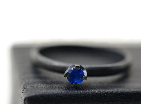 Blackened Silver Bright Blue Spinel Ring