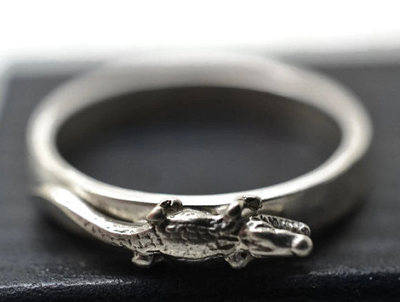Engravable Silver Animal Charm Ring