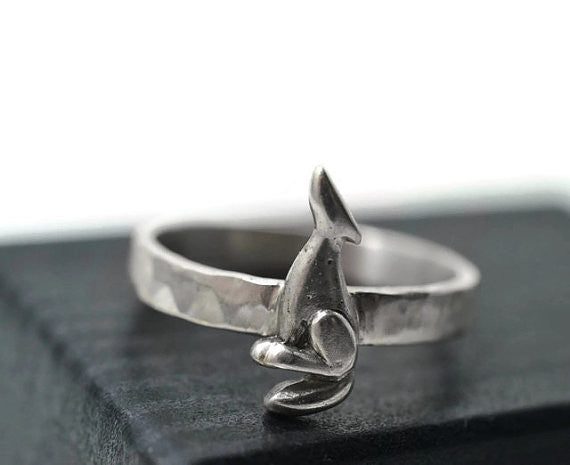 Engravable Silver Coyote Ring