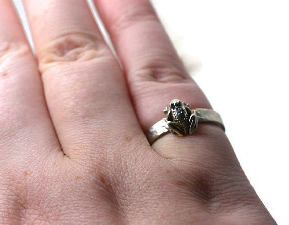Handmade Engravable Frog Ring