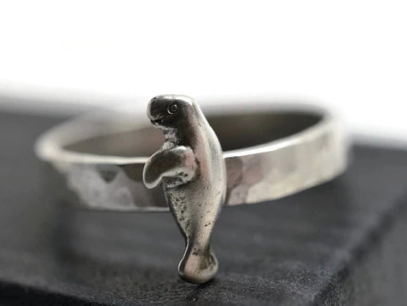 Handforged Sterling Silver Manatee Ring