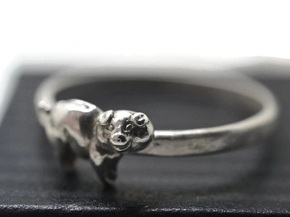Sterling Silver Pig Ring
