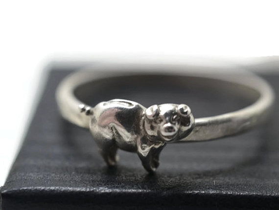 Handforged Silver Pig Ring