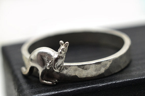 Engravable Sterling Silver Kangaroo Ring
