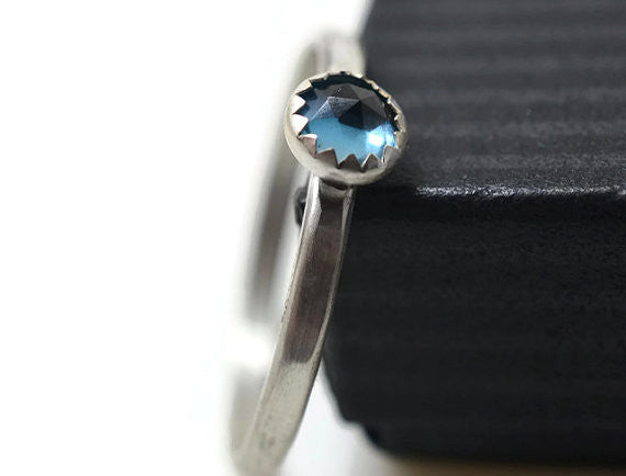 Simple Sterling Silver & 4mm London Blue Topaz Ring