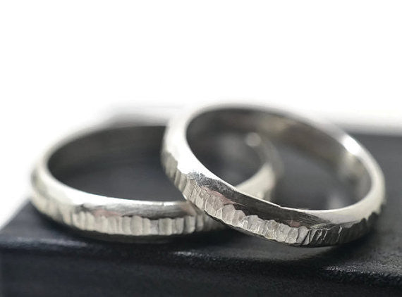 Handmade Hammered Sterling Silver Tree Bark Wedding Bands