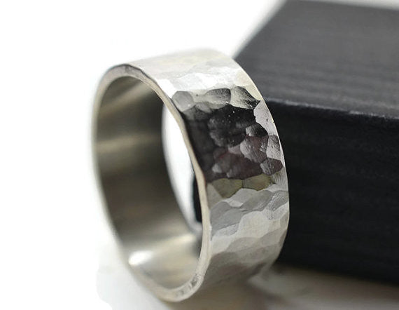 Hammered Silver Men's Wedding Band