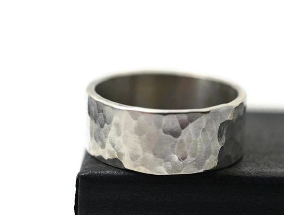 Handmade Hammered Sterling Silver Wedding Ring