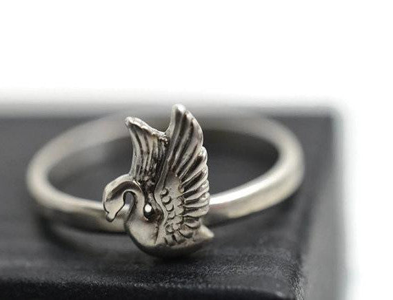 Personalised Sterling Silver Swan Ring