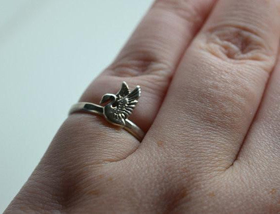 Dainty Sterling Silver Swan Charm Ring