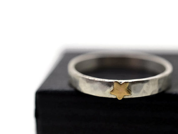 Handmade Silver & 14K Gold Star Ring with Engraving