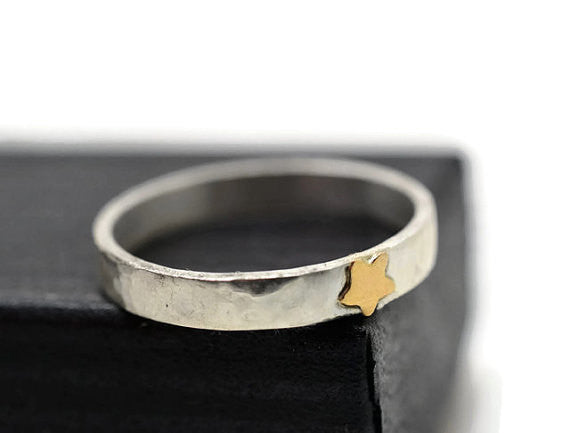 Handforged 14K Gold Star & Sterling Silver Band