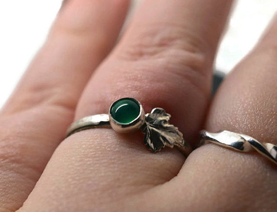 Handmade Silver Leaf & Emerald Ring
