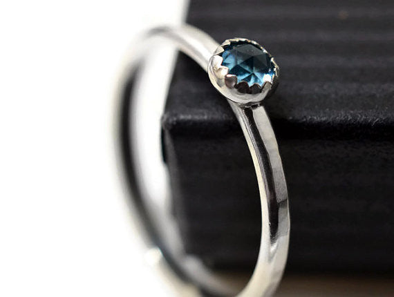 Stackable Sterling Silver & Swiss Blue Topaz Ring