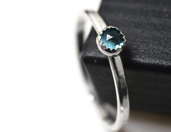 Handmade Sterling Silver & 4mm Swiss Blue Topaz Stack Ring