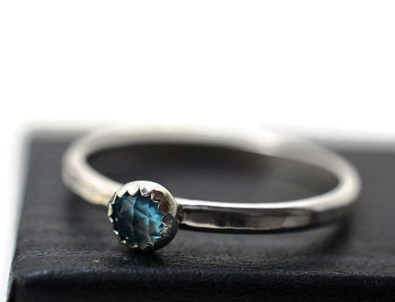 Handmade Sterling Silver & 4mm Swiss Blue Topaz Ring