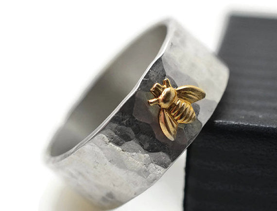 Personalised Sterling Silver & 14K Gold Bee Ring