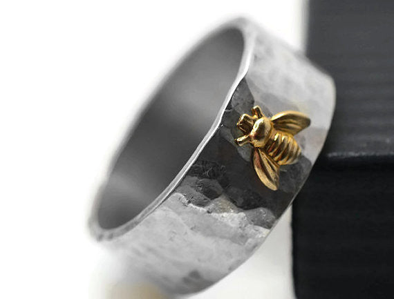 Handforged 14K Gold Bee Charm Ring with Sterling Silver Band