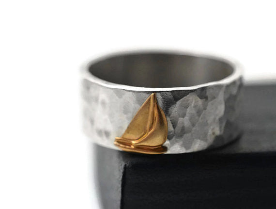 Handmade Sterling Silver & 14K Gold Sailing Ship Ring