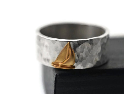 14K Gold Ship Ring, Sterling Silver Band, Customized Sailing Jewellery