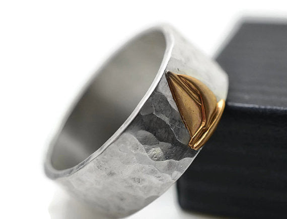 Handforged Sterling Silver & 14K Gold Sailboat Ring
