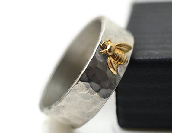 Hammered Silver & 14K Yellow Gold Honey Bee Ring
