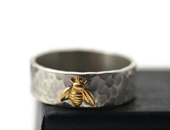 Sterling Silver & 14K Yellow Gold Bee Ring