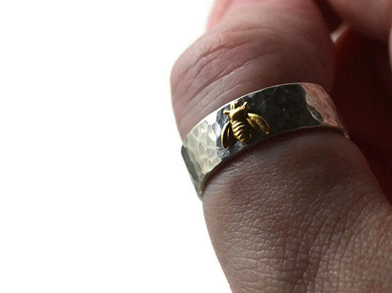 Handcrafted Sterling Silver & Gold Bee Ring