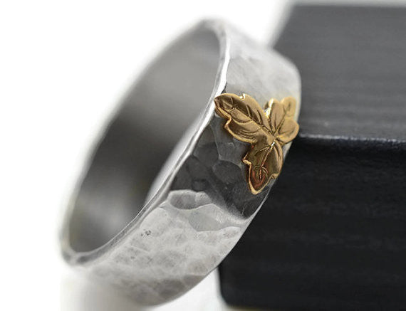 Handmade Silver & 14K Gold Leaf Ring