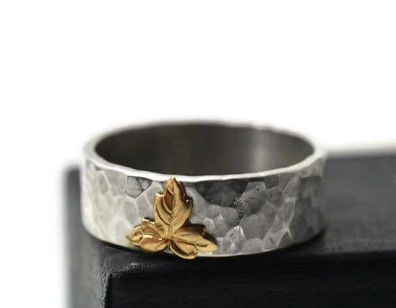Handmade Sterling Silver & 14K Gold Leaf Ring