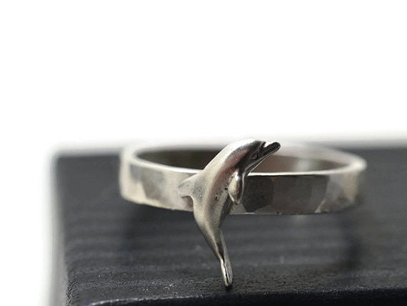 Engravable Sterling Silver Porpoise Ring