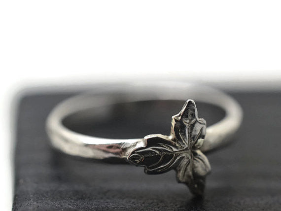 Handforged Silver Leaf Ring