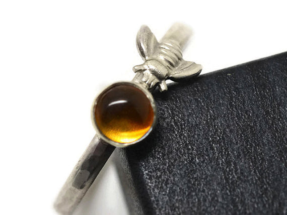 Handcrafted Silver Bee & Gemstone Ring