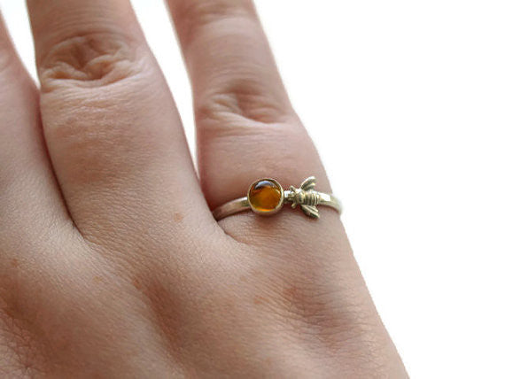 Artisan Made Citrine & Sterling Bee Ring
