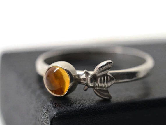 Handmade Honeybee & Citrine Ring