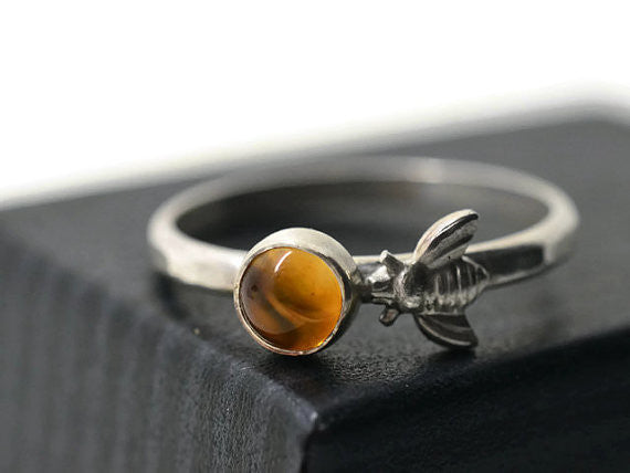 Citrine & Silver Honey Bee Ring
