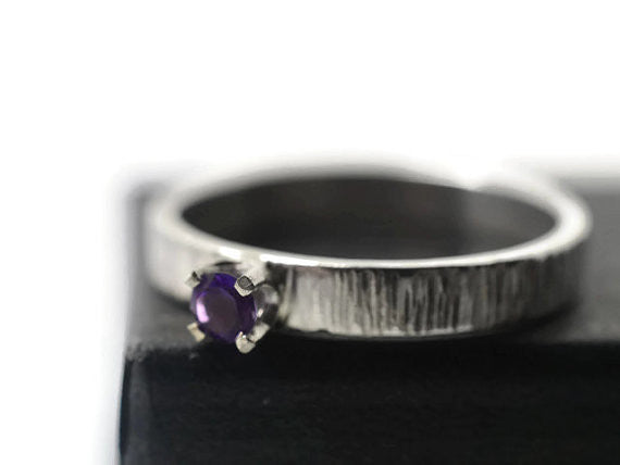 Silver Tree Bark Tiny Amethyst Ring