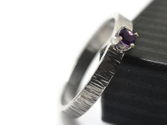 Handmade Silver Tree Bark Tiny Amethyst Ring