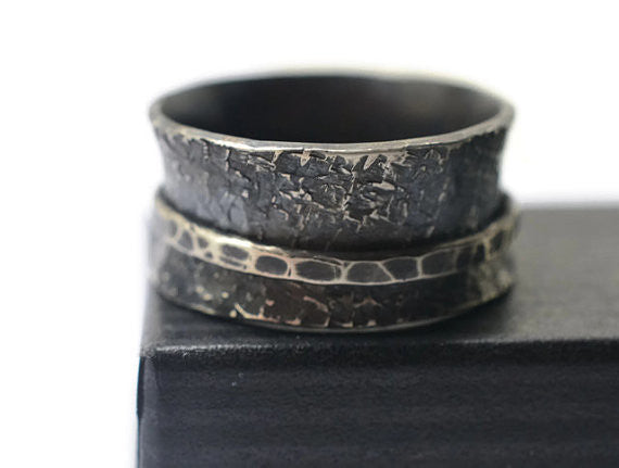 Oxidized Silver Mens Spinner Ring