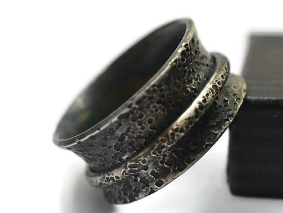 Handforged Oxidized Silver Spinner Meditation Ring