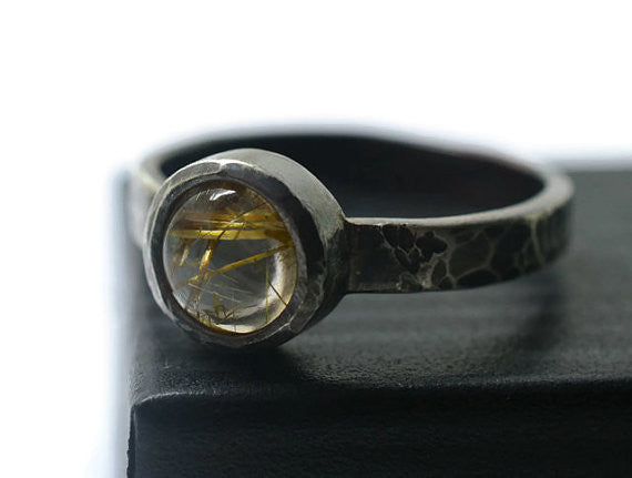 Oxidized Silver & Gold Rutilated Quartz Statement Ring