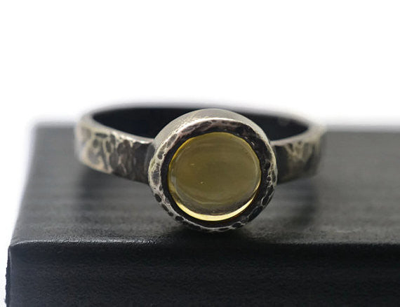Handmade Blackened Silver Citrine Ring
