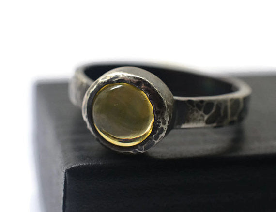 Handmade Oxidized Silver Citrine Ring