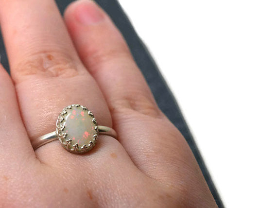 Handmade Natural Opal Statement Ring
