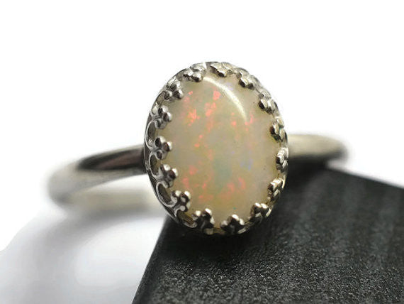 Handmade White Opal Ring