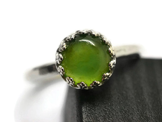 Handforged Sterling Silver & Green Serpentine Ring